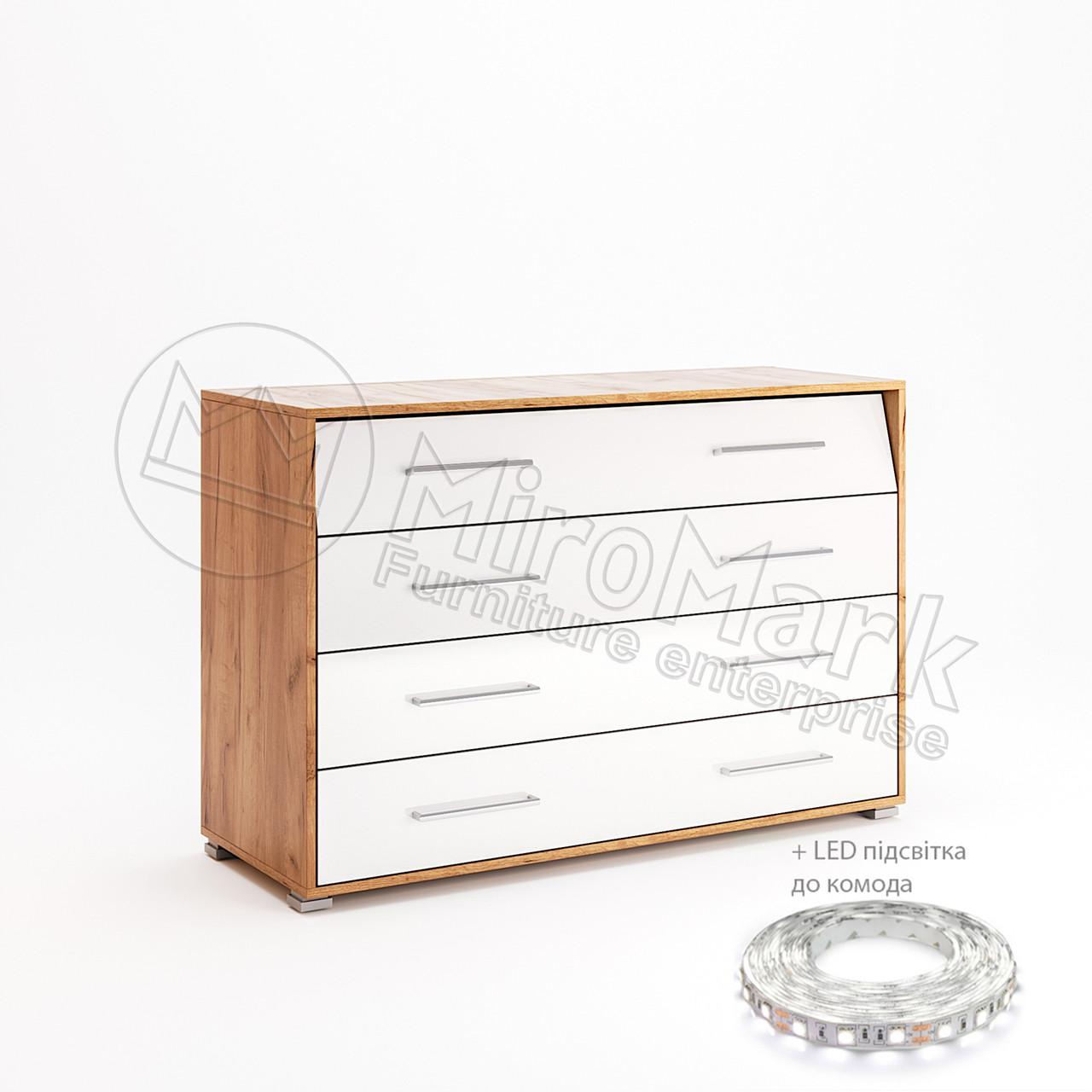 Комод Ники 4 шх Дуб Крафт-Белый Глянец ТМ МироМарк