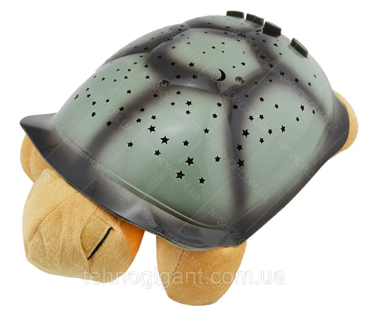 """Ночник детский """"музыкальная черепаха"""" проектор звездного неба персиковый"""