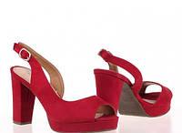 Замшевые босоножки женские красные на каблуке 36-41