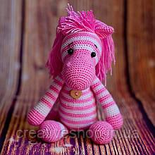 """В'язана іграшка """"Смугаста конячка рожева"""""""