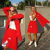 Женский  вельветовый  юбочный костюм. 4 цвета!, фото 1