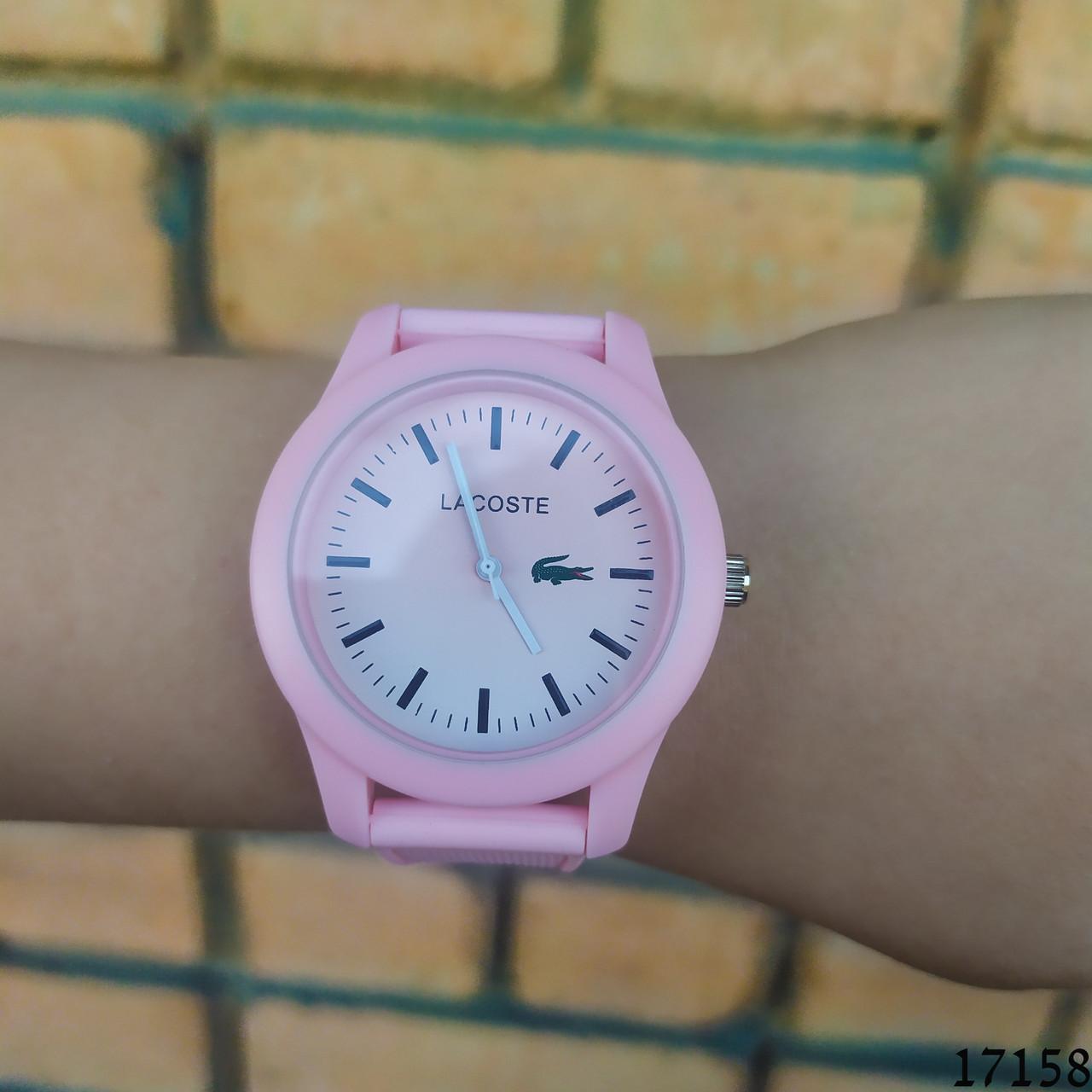 Женские наручные часы пудровые в стиле Lacoste. Годинник наручний жіночий