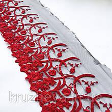 Ажурне мереживо, вишивка на сітці, червоного кольору, ширина 20 см