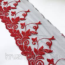 Ажурное кружево вышивка на сетке, красного цвета, ширина 20 см