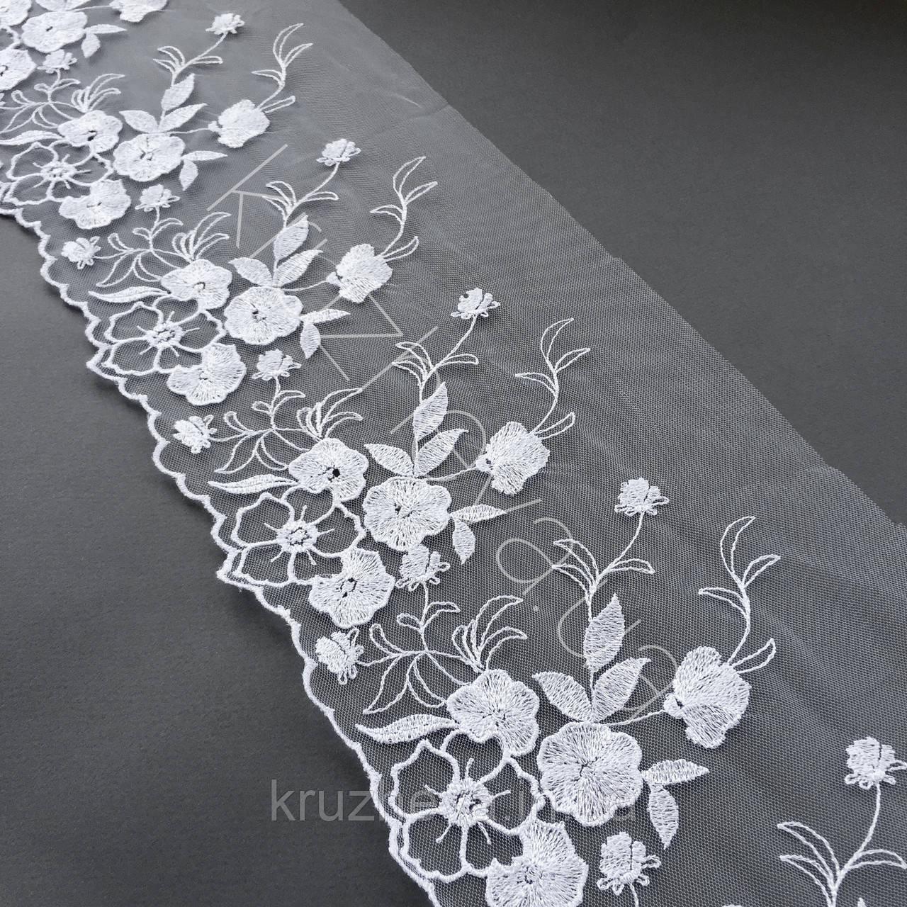 Ажурне мереживо, вишивка на сітці, білого кольору, ширина 20 см