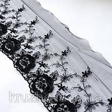 Ажурное кружево вышивка на сетке, черного цвета, ширина 20 см