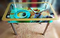 Стеклянный стол с окантовкой + кофейный принт