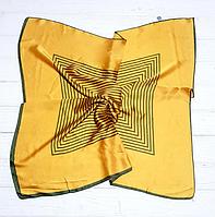 Шейный шелковый платок Fashion Жаклин 70*70 см горчичный