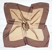 Шийний шовковий хустку Fashion Евелін 70*70 см кава з молоком