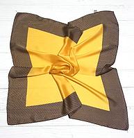 Шийний шовковий хустку Fashion Евелін 70*70 см гірчичний