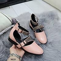 Кожаные розовые Женские туфли, туфли лодочки с ремешками