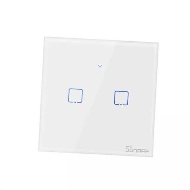 Sonoff TX T0 Сенсорный WiFi Настенный Выключатель 2 кнопки, белый EU, без радио 433МГц
