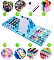 Детский набор для творчества и рисования 208 предметов (blue), фото 1