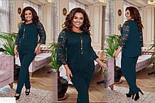 Женский модный костюм батал большие размеры 50 52 54 56 58 60 Зелёный