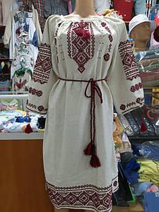 Жіноче лляне плаття Вишиванка ручної роботи р. 42-60