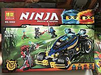 Конструктор Ниндзяго Ninjago bela 10582 Самурай VXL,черный джип 453 деталей, 4 фигурки в коробке 41*28*6 см