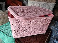 Корзина Ажур с крышкой 7,5 л для хранения Полимер Украина  розовый пудра