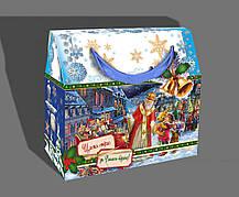 Упаковка праздничная новогодняя из металлизированного картона Святой Николай, до 1кг, оптом