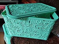 Корзина Ажур с крышкой 7,5 л для хранения Полимер Украина зеленый мята