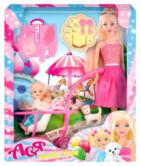"""Набор с куклой Асей """"Семейный досуг"""" и маленькой куклой в коляске"""