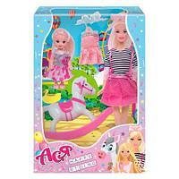 """Набор с куклой Асей """"Прогулка верхом"""" и маленькой куклой"""