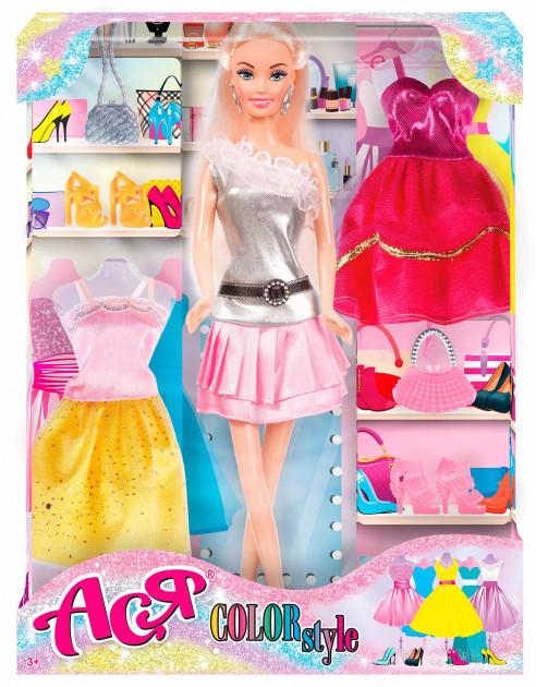 """Набор с куклой Асей блондинкой """"Яркий в моде"""""""