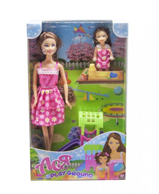 """Набор с куклой Асей брюнеткой """"Детская площадка"""" и маленькой куклой"""