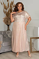 Летнее, свободное, легкое, женское платье большого размера, размер 60 ( 54,56,58,60 ) короткий рукав, Персик