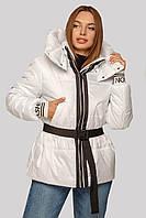 Молодежная лакированная демисезонная куртка Алекса с поясом 42-48 размеры белая, 46 р