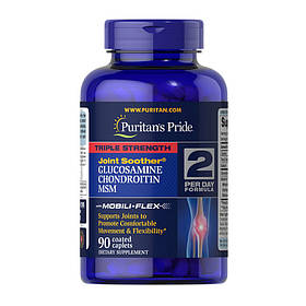 Комплекс для суставов и связок Puritan's Pride Triple Strength Glucosamine & Chondroitin with MSM 90 caplets