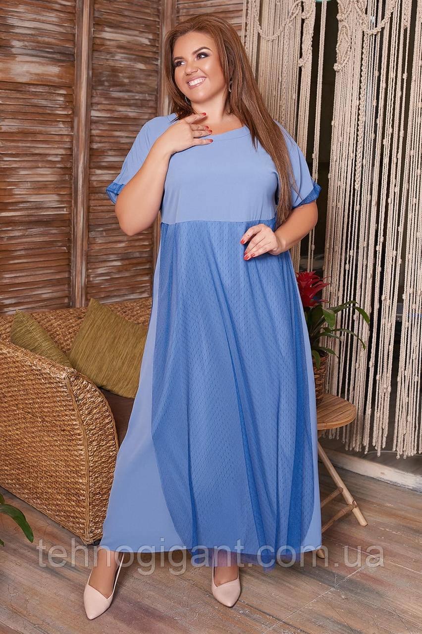 Летнее, свободное, легкое, женское платье большого размера, размер 60 ( 54,56,58,60 )  короткий рукав, Голубое
