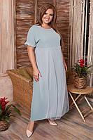 Летнее, свободное, легкое, женское платье большого размера, размер 60 ( 54,56,58,60 ) короткий рукав, Мятное