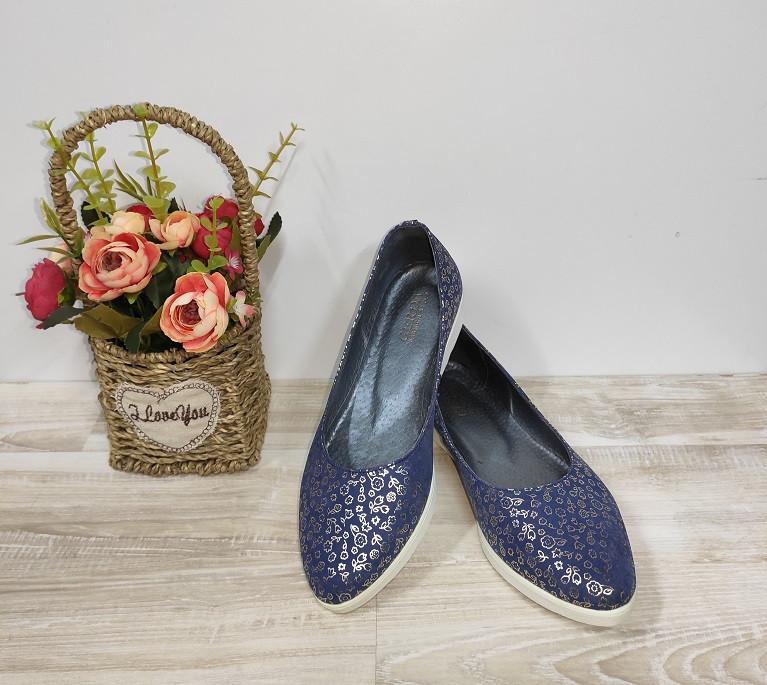 Туфли женские синие из натуральной кожи 36-40 р Gerda арт 455