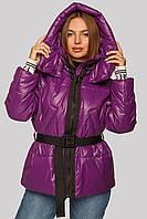 Женская модная куртка Алекса с трикотажным поясом 42-48 размеры фуксия (фиолетовая), 46 р от MioRichi