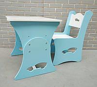 Детский стол и стул машинка (голубой), детская растущая парта