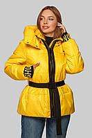 Модная молодежная желтая Куртка Алекса с трикотажным манжетом и поясом 42-48, демисезон 42 р от MioRichi