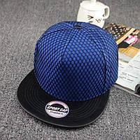 Кепка снепбек Сетка с прямым козырьком Синяя 2, Унисекс, фото 1