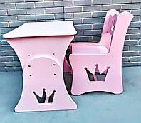 Стол и стул в детскую, дитячий стіл і стілик, стол и стул корона