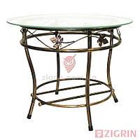Журнальный кованый стол ЭЛИЗАБЕТ | Стеклянный круглый столик
