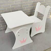 Стол и стул в детскую корона (белый с розовой короной), детская растущая парта