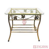 Журнальный кованый стол ФАРАЛЬД 65 см   Стеклянный столик