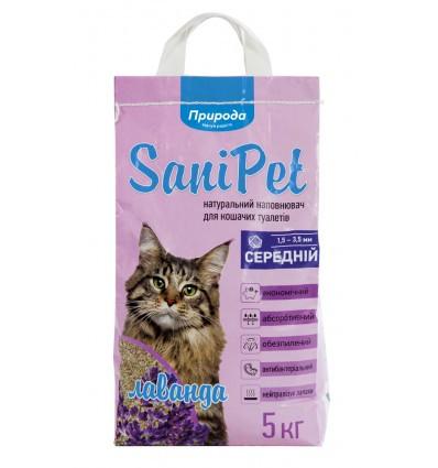 Бентонітовий наповнювач SaniPet середній з ароматом лаванди 5 кг для котів Природа