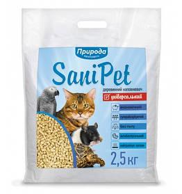 Деревне наповнювач SaniPet Універсальний 2,5 кг для котів Природа