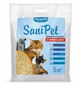 Деревне наповнювач SaniPet Універсальний 5 кг для котів Природа