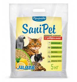 Деревне наповнювач SaniPet Універсальний Лимон 5 кг для котів Природа