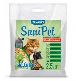 Деревне наповнювач SaniPet, універсальний із запахом яблука 2,5 кг для котів, Природа