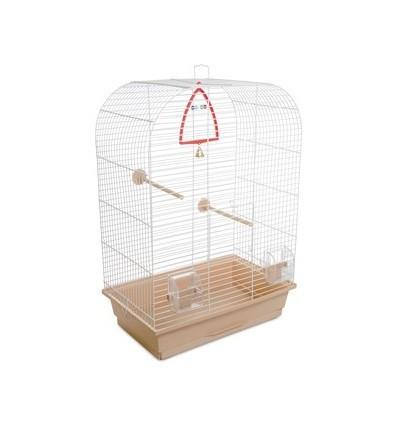 Клетка Аурика  белая/бежевая  для декоративных птиц 44х27х64 см Природа