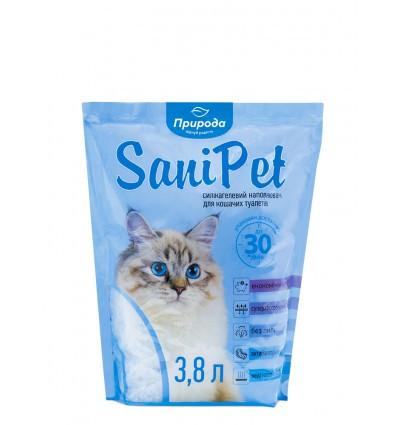 Силикагелевый наповнювач SaniPet для котів 3,8 л Природа