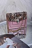 Рожева жіноча сумка зі вставкою рептилія код 7-1156, фото 2
