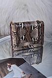 Рожева жіноча сумка зі вставкою рептилія код 7-1156, фото 3